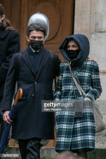 Gautier Capucon and Delphine Capucon attend Patrick Dupond's funerals at Eglise Saint-Roch on March 11, 2021 in Paris, France.