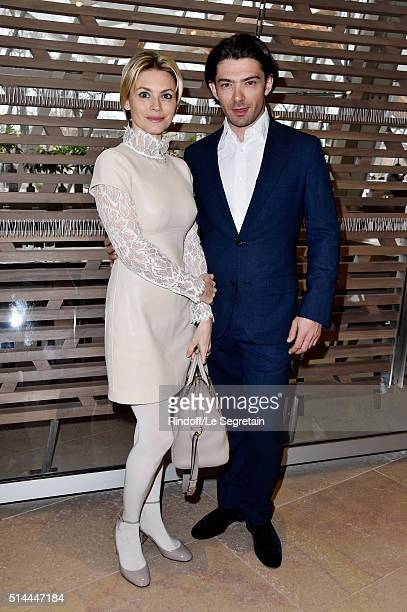 Gautier Capucon and his wife Delphine attend the Louis Vuitton show as part of the Paris Fashion Week Womenswear Fall/Winter 2016/2017 on March 9,...