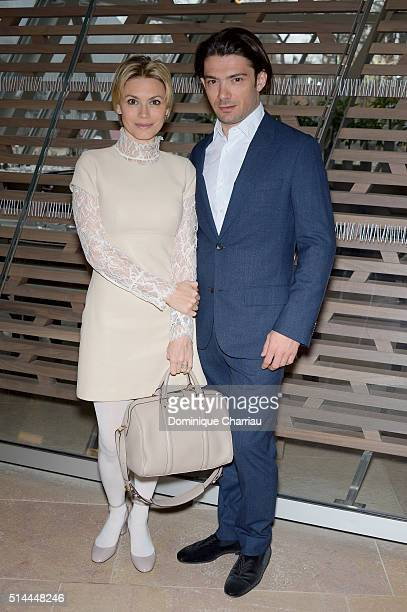 Gautier Capucon and his wife Delphine attend the Louis Vuitton show as part of the Paris Fashion Week Womenswear Fall/Winter 2016/2017 on March 9...