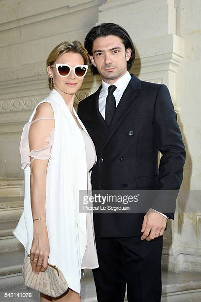 Gautier Capucon and his wife Delphine Capucon attend the Valentino Menswear Spring/Summer 2017 show as part of Paris Fashion Week on June 22, 2016 in...