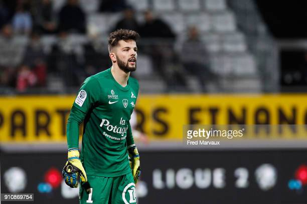 Gautier Larsonneur of Brest during the Ligue 2 match between Nancy and Brest on January 26 2018 in Nancy France