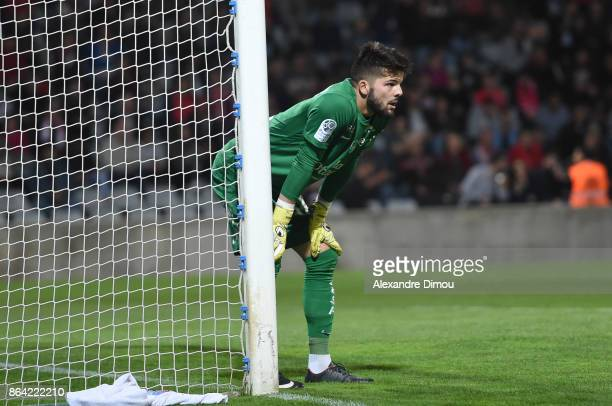 Gautier Larsonneur of Brest during the Ligue 2 match between Nimes Olympique and Stade Brestois at on October 20 2017 in Nimes France