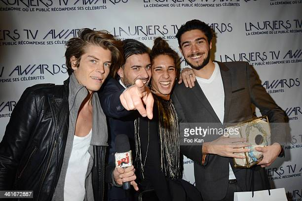 Gautier Preaux Vincent Queijo Eddy Ben Youssef and Julien Guirado from Secret Story 7 attend the 'Lauriers TV Awards 2014 Ceremony' Red Carpet...