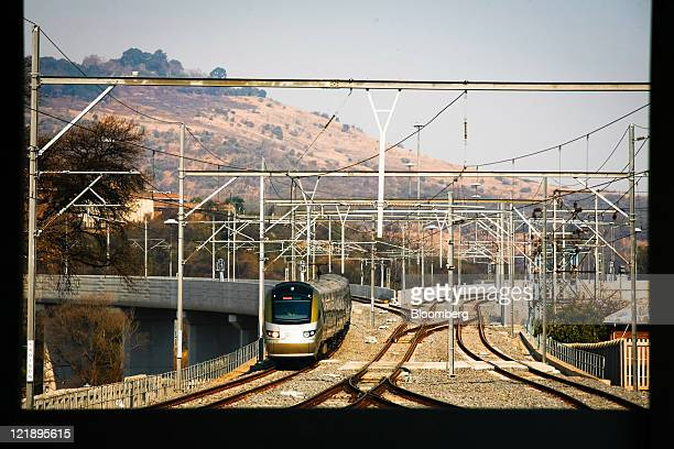 A Gautrain mass transit train arrives at the rail station in Pretoria South Africa on Monday Aug 22 2011 South Africa expanded its rapidrail line...