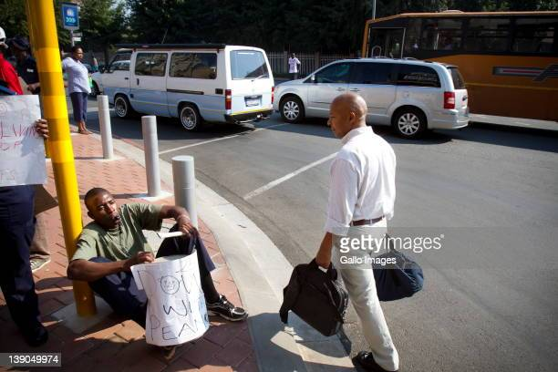 Gautrain security guards picket outside the Sandton station on February 15 2012 in Johannesburg South Africa Members of the Transport and Omnibus...