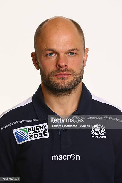 Gav Scott of Scotland during the Scotland Rugby World Cup 2015 squad photo call at the Hilton Puckrup Hall Hotel on September 17 2015 in Tewkesbury...