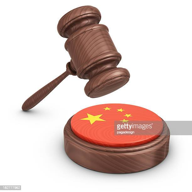 gavel and chinese flag - mallet hand tool stock pictures, royalty-free photos & images