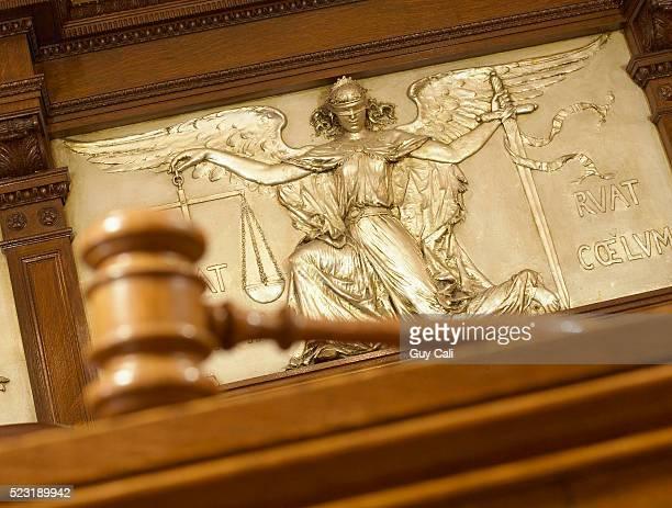 gavel and figure of justice - crime or recreational drug or prison or legal trial stock-fotos und bilder