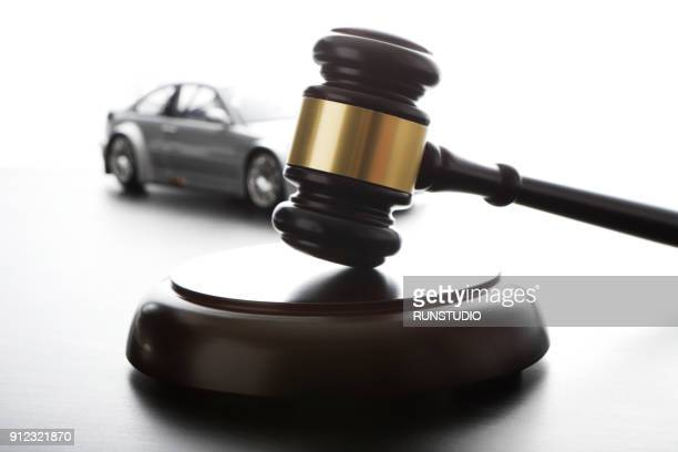 gavel and model car - lawsuit stock pictures, royalty-free photos & images