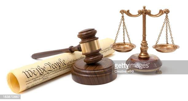 gavel and scales of justice - bill of rights stock photos and pictures