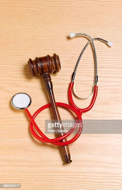 Gavel and stethoscope/malpractice