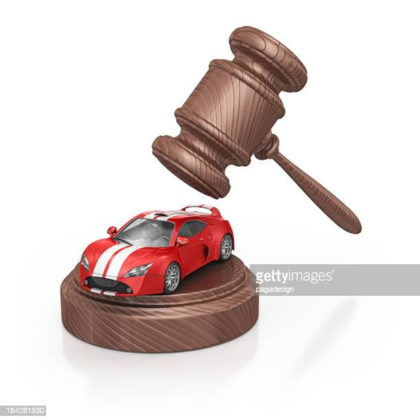 gavel and supercar