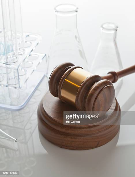 gavel & laboratory equipment - fda stock photos and pictures