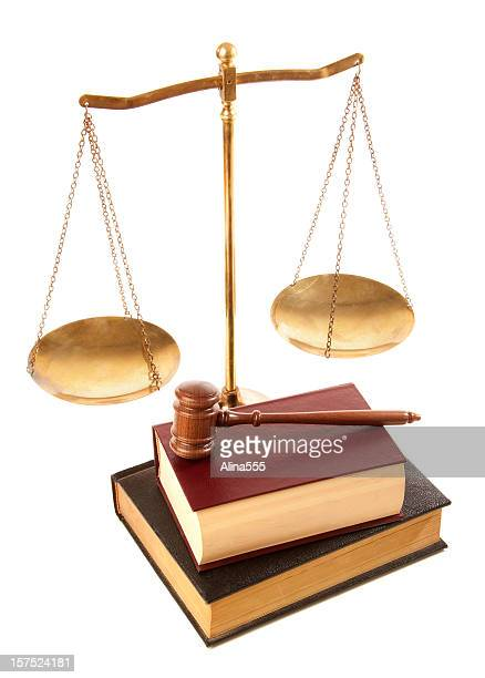 gavel, law books and justice scale isolated on white - equal arm balance stock pictures, royalty-free photos & images