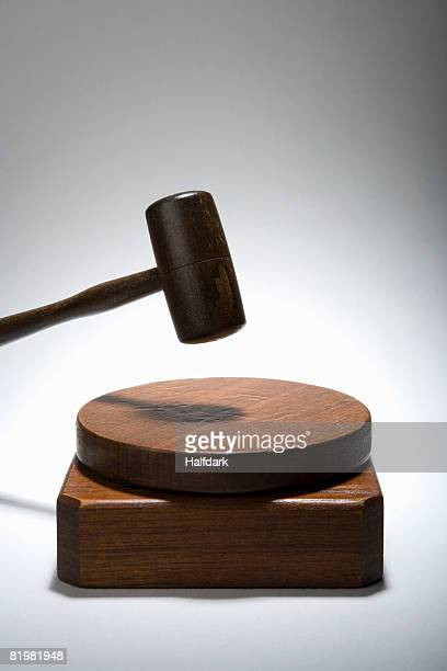 A gavel on a sound block