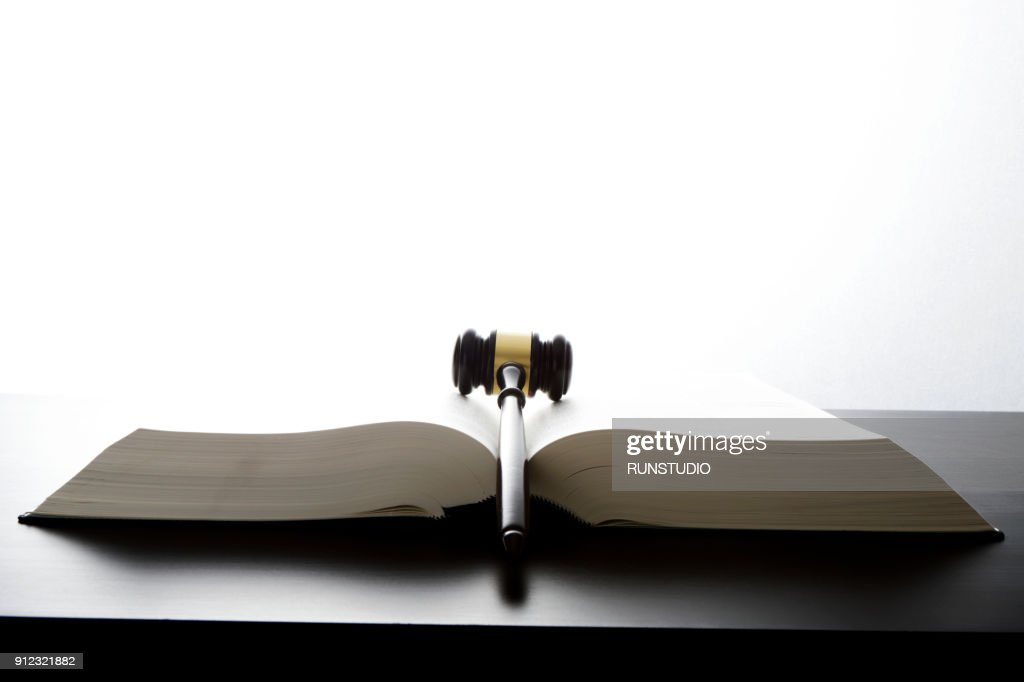 Gavel on open law book : Stock Photo