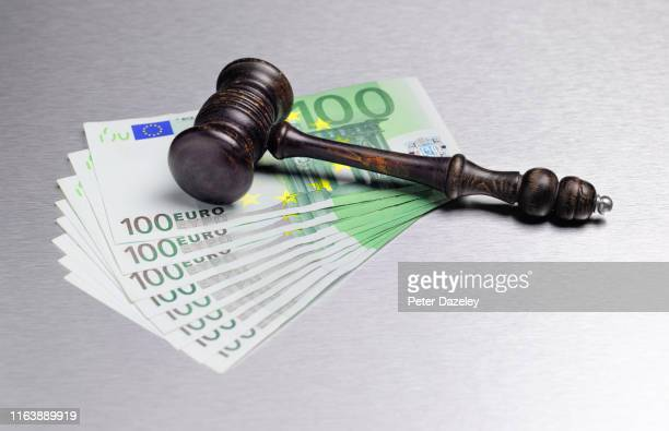 gavel with euro currency - penalty stock pictures, royalty-free photos & images