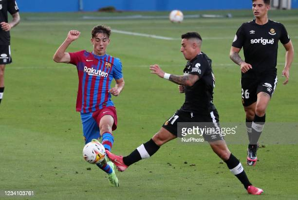 Gavi and Pol during the friendly match between FC Barcelona and Club Gimnastic de Tarragona, played at the Johan Cruyff Stadium on 21th July 2021, in...
