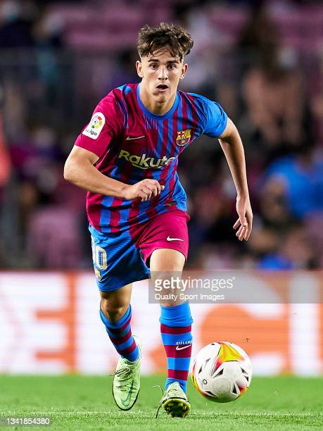 Gavi Paez of FC Barcelona with the ball during the La Liga Santander match between FC Barcelona and Granada CF at Camp Nou on September 20, 2021 in...