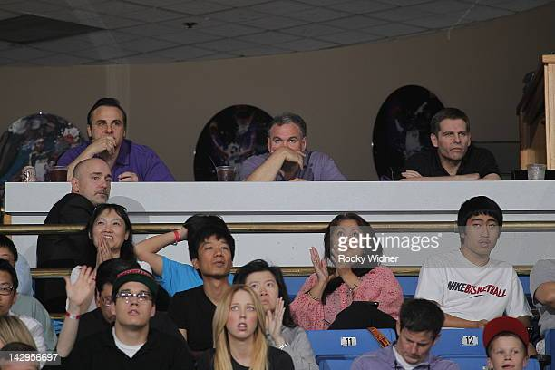 Gavin and Joe Maloof , owners of the Sacramento Kings, watch as their team takes on the Portland Trail Blazers on April 15, 2012 at Power Balance...