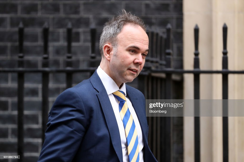 Gavin Barwell, chief of staff for U.K. Prime Minister Theresa May, leaves 10 Downing Street following a national security meeting in London, U.K., on Wednesday, March 14, 2018. Prime Minister Theresa May publicly blamed Russia for poisoning a former spy and his daughter on British soil, as escalating tension between the Kremlin and the West raised fears of a new Cold War. Photographer: Simon Dawson/Bloomberg via Getty Images