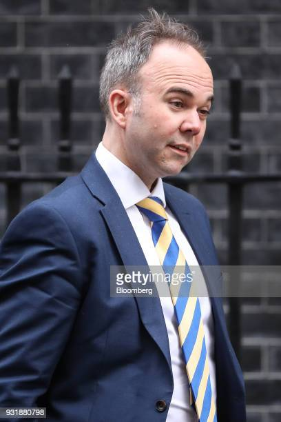 Gavin Barwell chief of staff for UK Prime Minister Theresa May leaves 10 Downing Street following a national security meeting in London UK on...