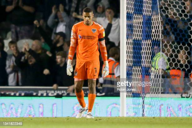 Gavin Bazunu of Portsmouth FC after Ryan Hardie of Plymouth Argyle had scored a goal to make it 2-1 during the Sky Bet League One match between...