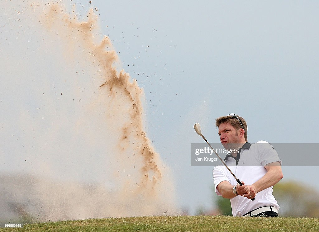 Gavin Beddow of Vicars Cross plays from a bunker during the Virgin Atlantic PGA National Pro-Am Championship regional final at St Annes Old Links Golf Club on May 19, 2010 in Lytham St Anne's, England.