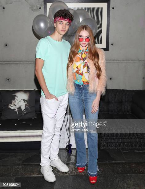Gavin Casalegno and Larsen Thompson attends Montana Tucker's 25th Birthday Party at a Private Residence on January 20 2018 in Beverly Hills California
