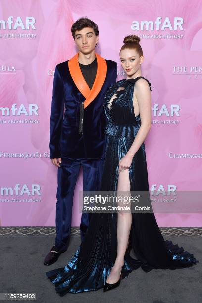 Gavin Casalegno and Larsen Thompson attends the Amfar Gala At The Peninsula Hotel In Paris on June 30 2019 in Paris France
