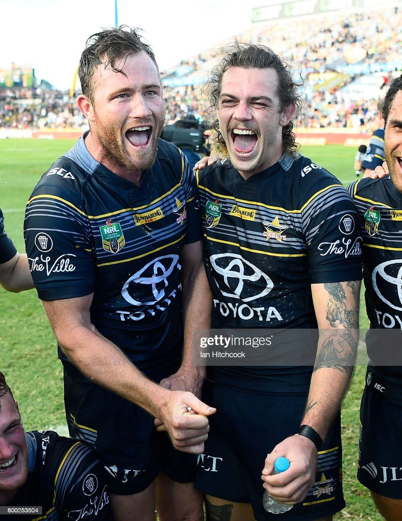 Gavin Cooper and Ethan Lowe of the Cowboys during the round 16 NRL match between the North Queensland Cowboys and the Penrith Panthers at 1300SMILES Stadium on June 24, 2017 in Townsville, Australia.