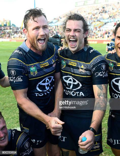 Gavin Cooper and Ethan Lowe of the Cowboys during the round 16 NRL match between the North Queensland Cowboys and the Penrith Panthers at 1300SMILES...