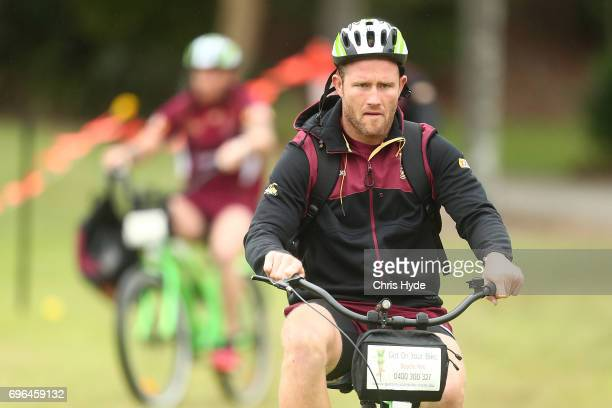 Gavin Cooper arrives for a Queensland Maroons State of Origin training session at Intercontinental Sanctuary Cove Resort on June 16 2017 in Brisbane...