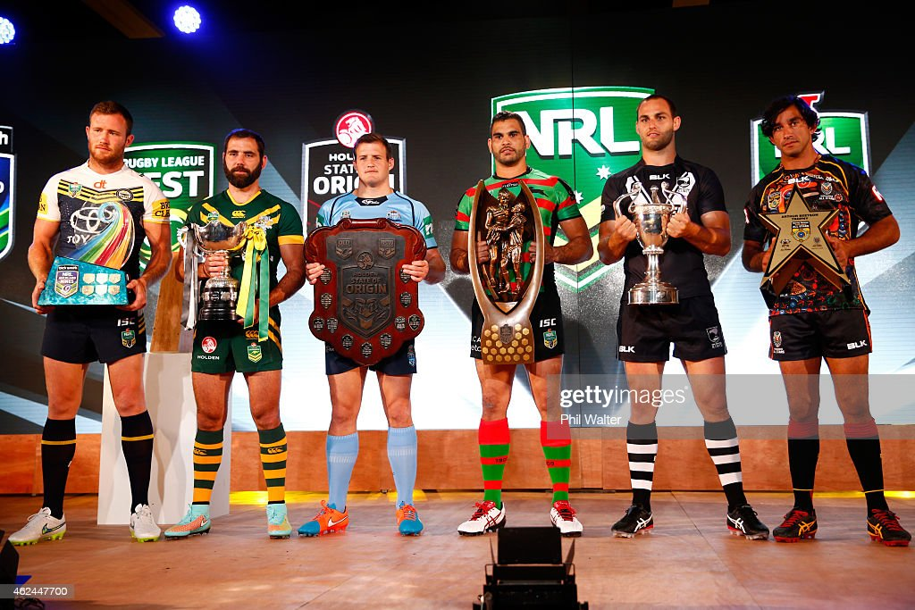 Gavin Cooper, Cameron Smith, Josh Morris, Greg Inglis, Simon Mannering and Johnathan Thurston hold their respective trophies during the 2015 NRL season launch at Shed 10 on January 29, 2015 in Auckland, New Zealand.