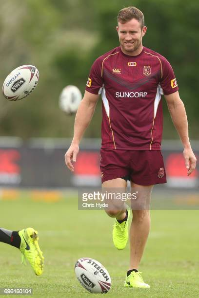 Gavin Cooper kicks during a Queensland Maroons State of Origin training session at Intercontinental Sanctuary Cove Resort on June 16 2017 in Brisbane...