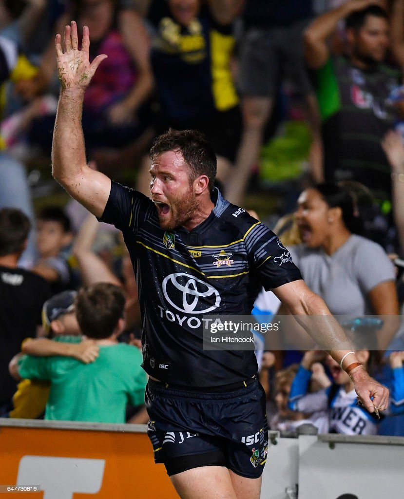 Gavin Cooper of the Cowboys celebrates after scoring the game winning try during the round one NRL match between the North Queensland Cowboys and the Canberra Raiders at 1300SMILES Stadium on March 4, 2017 in Townsville, Australia.