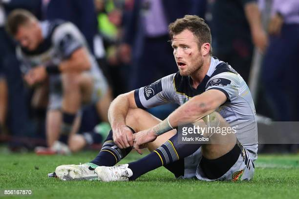 Gavin Cooper of the Cowboys shows his emotion after losing the 2017 NRL Grand Final match between the Melbourne Storm and the North Queensland...