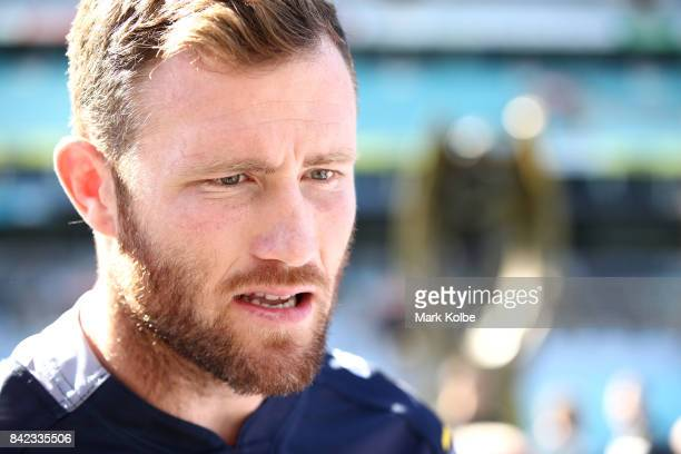 Gavin Cooper of the Cowboys speaks to the media during the 2017 NRL Finals Series Launch at ANZ Stadium on September 4 2017 in Sydney Australia