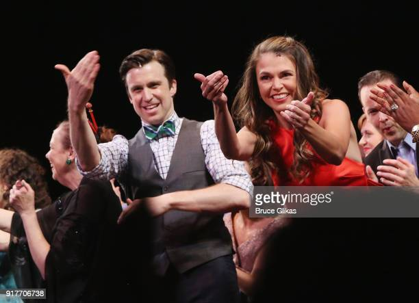 Gavin Creel and Sutton Foster take their curtain call at the 'Thoroughly Modern Millie' 15th Anniversary Reunion Concert at The Minskoff Theater on...