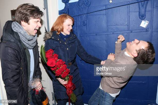 Gavin Creel Kate Baldwin and Taylor Trensch surprise Taylor Trensch backsage as he joins the cast of Dear Evan Hansen on Broadway at The Music Box...