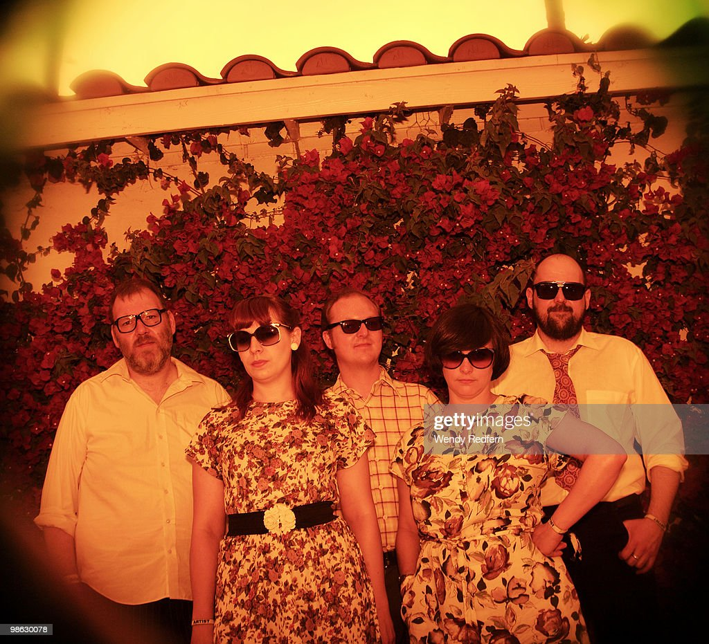 Gavin Dunbar, Carey Lander, Lee Thomson, Tracyanne Campbell and Kenny McKeeve of Camera Obscura pose backstage on day 2 of Coachella Valley Music & Arts Festival 2010 on April 17, 2010 in Coachella, California.