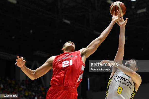 Gavin Edwards of Chiba Jets and Yuki Mitsuhara of Sun Rockers Shibuya contest for a rebound during the B.League Early Cup Kanto 3rd Place Game...