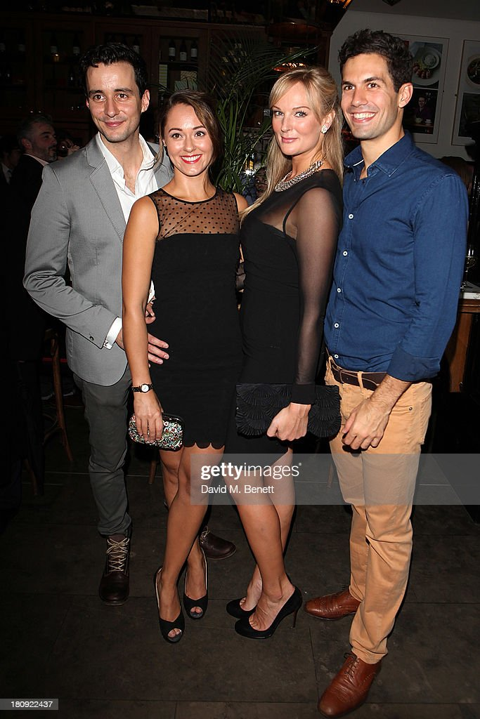 Gavin Fowler, Susannah Fielding, Katherine Kingsley and Stefano Braschi attend an after party following their press night performance of 'A Midsummer Night's Dream' at The National Cafe on September 17, 2013 in London, England.