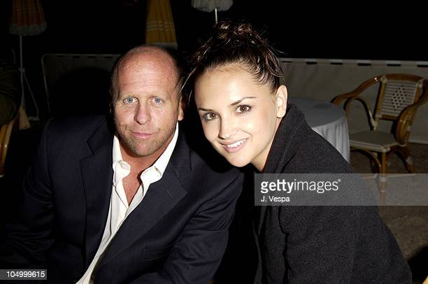 Gavin Grazer Dir and Rachael Leigh Cook during Cannes 2002 'Scorched' Party at Majestic Beach in Cannes France