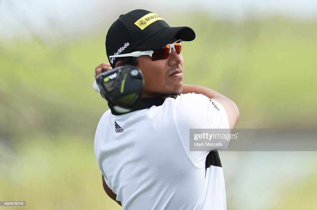 Gavin Green of Malaysia hits a tee shot during day one of the 2017 Fiji International at Natadola Bay Championship Golf Course on August 17, 2017 in Suva, Fiji.