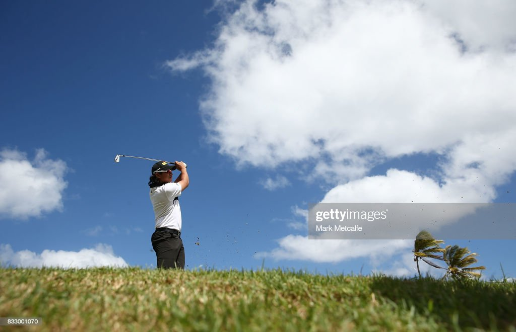 Gavin Green of Malaysia hits a tee shot on the 8th hole during day one of the 2017 Fiji International at Natadola Bay Championship Golf Course on August 17, 2017 in Suva, Fiji.