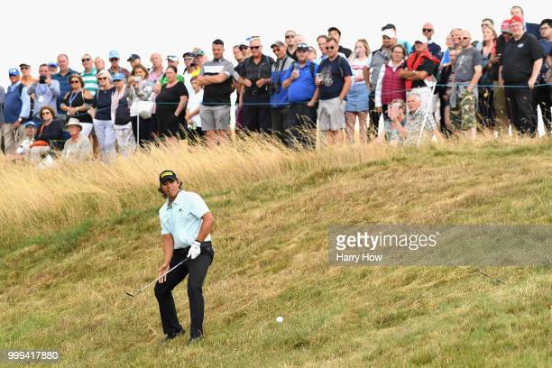 Gavin Green of Malaysia plays out of the rough on hole one during day four of the Aberdeen Standard Investments Scottish Open at Gullane Golf Course...