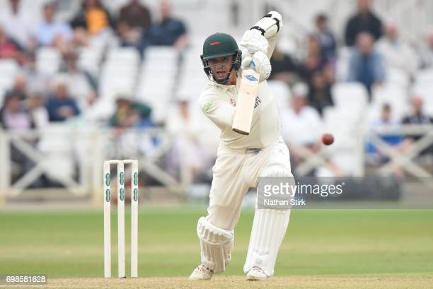 Gavin Griffiths of Leicestershire drives the ball during the Specsavers County Championship Division Two match between Nottinghamshire and...