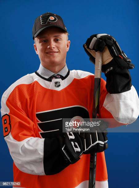 Gavin Hain poses after being selected 174th overall by the Philadelphia Flyers during the 2018 NHL Draft at American Airlines Center on June 23 2018...
