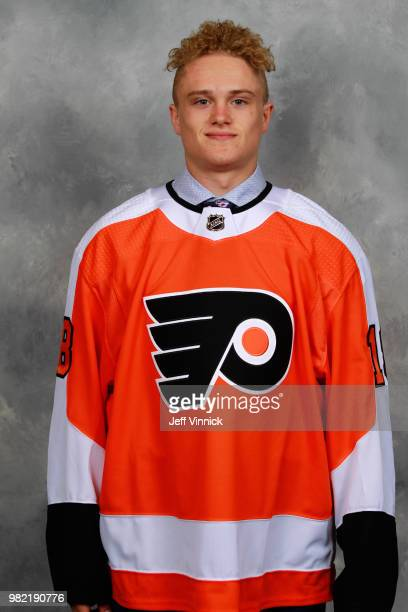Gavin Hain poses for a portrait after being selected 174th overall by the Philadelphia Flyers during the 2018 NHL Draft at American Airlines Center...